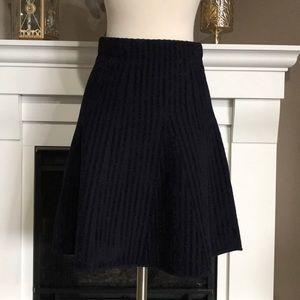 Ann Taylor Navy Textured Striped Skater Skirt
